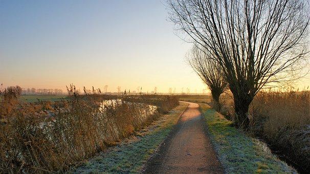 Sunrise, Sun, Morning, Bike Path, Channel, Frozen