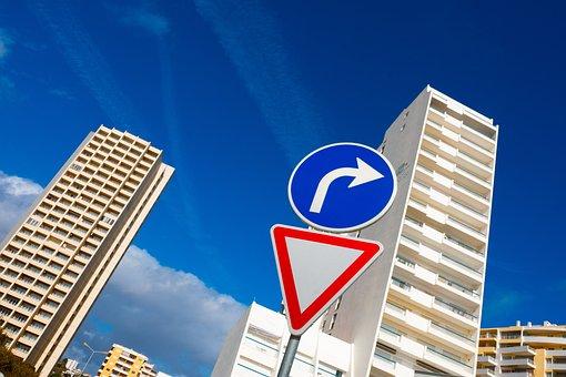 Skyscraper, Blue, Right, Traffic, Traffic Sign