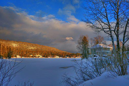 Landscape, Winter, Cold, Snow, House, Trees, Mountain