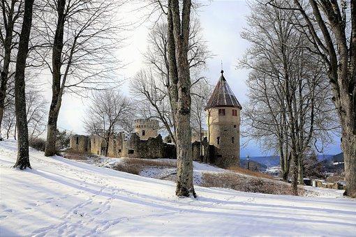 Honing Mountain, Castle, Ruin, Winter, Fairy Tales