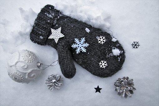 Winter, Wool, Gloves, Gray, Asterisk, In White