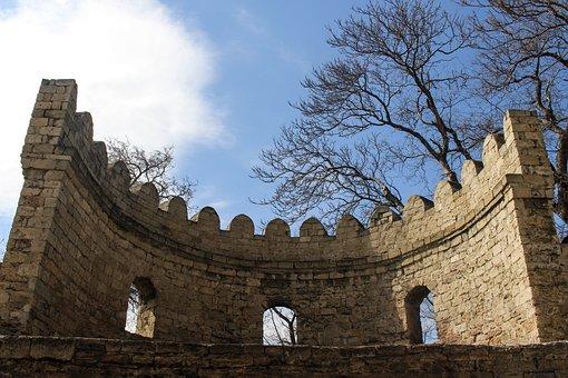 Baku, Azerbaijan, Ancient, Old, Classic, Wall, Sky