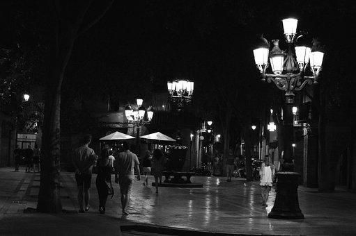 Night, City, Barcelona, Landscape, Walk, Tourism