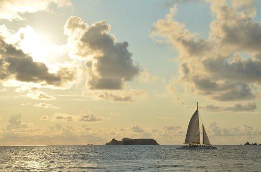 Sunset, Beach, Ocean, Sailboat, Clouds, Sun, Sky