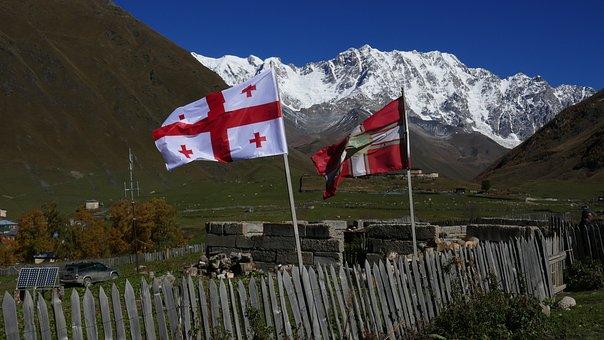 Georgia, Svaneti, Caucasus, Georgian Flag, Ushguli