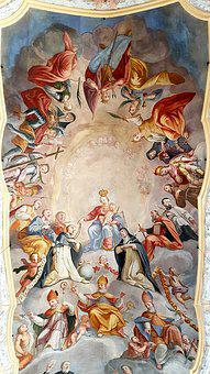 Fresco, Ceiling Painting, Maria, Child, Holy, Church