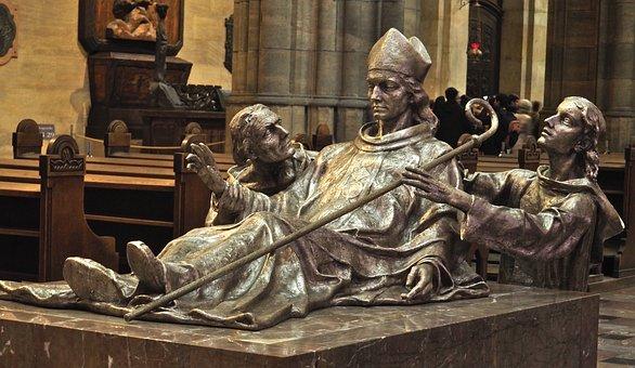Vojtech, St, Statue, Sculpture, Silver, Church