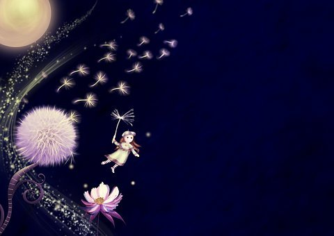 Fantasy, Dandelion, Moon, Flower, Girl, Flying
