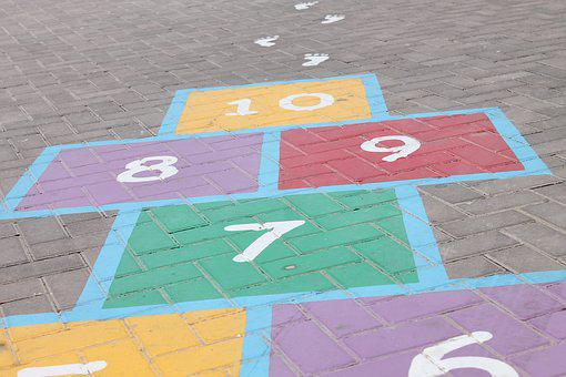 Hopscotch, Steps, Numbers, Six, Seven, Eight, Nine, Ten