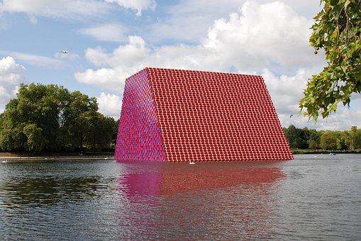 London, England, Park, Lake, Water, Artwork, Oil Drums