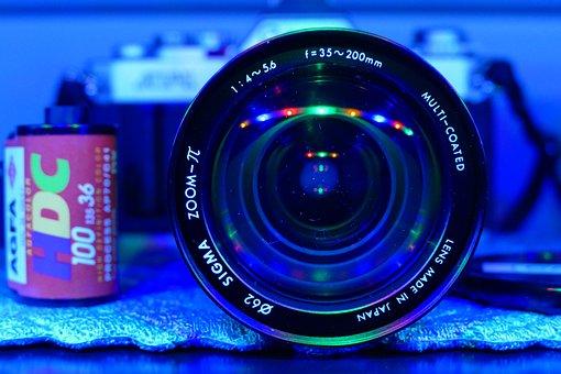 Photo, Film, Lens, Blue Light