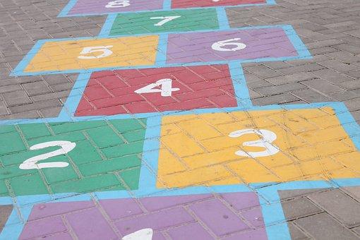 Hopscotch, Steps, Numbers, Two, Three, Four, Five, Six