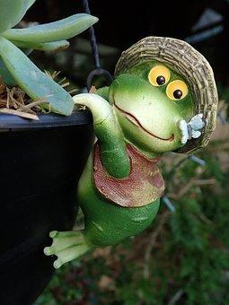 Frog, Garden, Statue, Funny, Pot Hanger