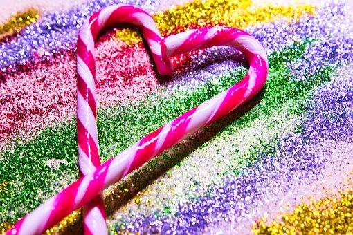 Candy Cane, Glitter, Shiny, Bling, Decorative, Sparkle