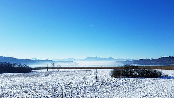 Landscape, Winter, Alpine, Hair Dryer, Snow, Fog, Lake