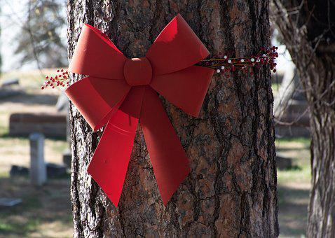 Holiday Decor, Red Bow, Holly, Christmas Decor