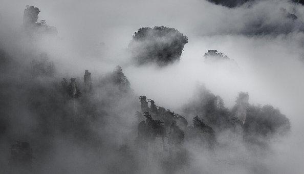 Huangshan, Fog, Ink, Ink Landscape