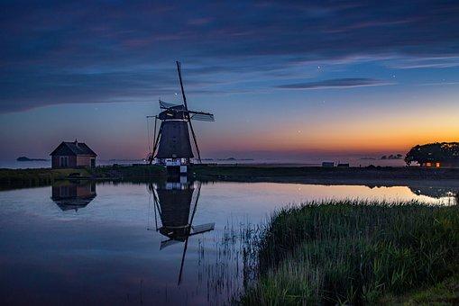 Windmill, Night, Sky, Sunset, Landscape, Nature, Mill