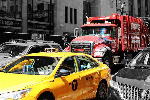 New York, Taxi, Truck, City, Manhattan, Road, Nyc
