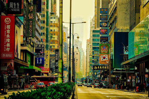 Mong Kok, Street, Nathan Road, Hong Kong, Asia, View
