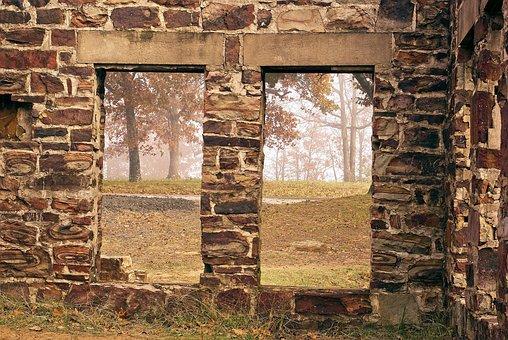 College Lodge Ruin, Fog, Ruin, Petit Jean, State, Park