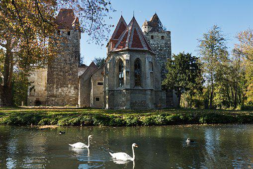 Pottendorf, Castle Park, Swans, Architecture, Castle