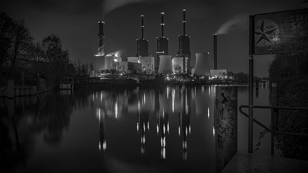 Black And White, Power Plant, Water Reflection