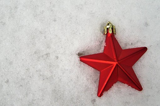 Star, Snow, Red, Christmas, Decoration, Background