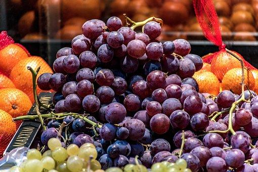 Red Grapes, Oranges, Green Grapes, Fruit, Street Vendor