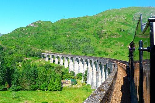 Viaduct, Glenfinnan, Scotland, Steam, Train, Highlands