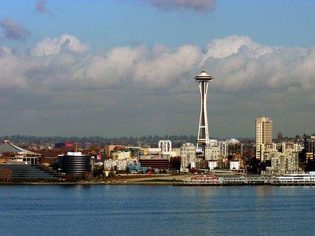 City, Seattle, Spaceneedle, Harbor