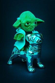 Yoda, Green, Chrome, Silver, Star Wars, Shiny, Decor