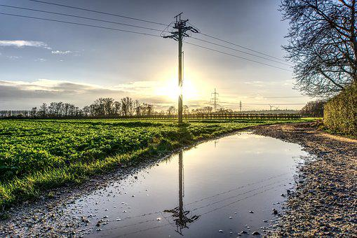 Mirroring, Strommast, Power Line, Sun, Backlighting