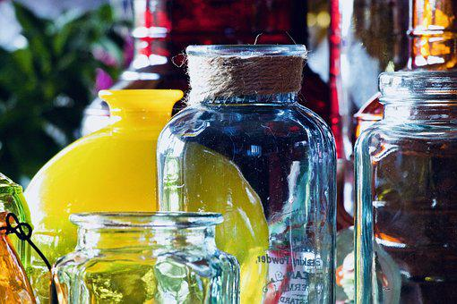 Vases, Glass Jars, Colored Glass, Containers, Colorful