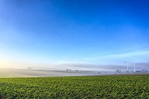 Windräder, Fog, Sky, Blue, Field, Nature, Landscape