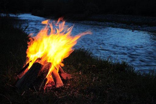 Campfire, Ali, River, Fire At The Edge Of The River