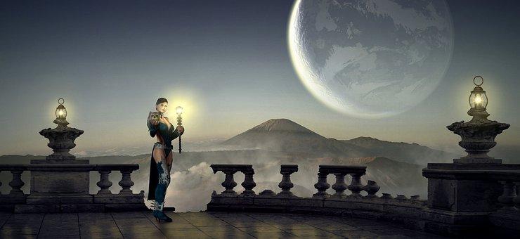 Fantasy, Amazone, Moon, Lantern, Mountains, Twilight