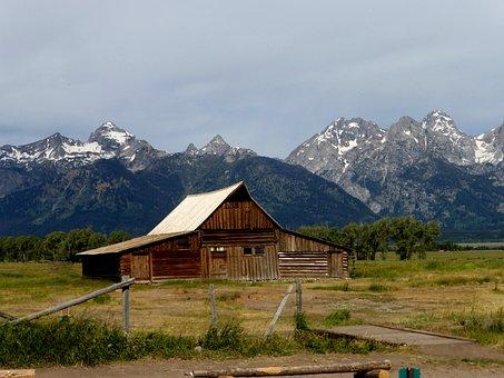 Ranch, America, Park, Building, Nature, Mountain, Snow