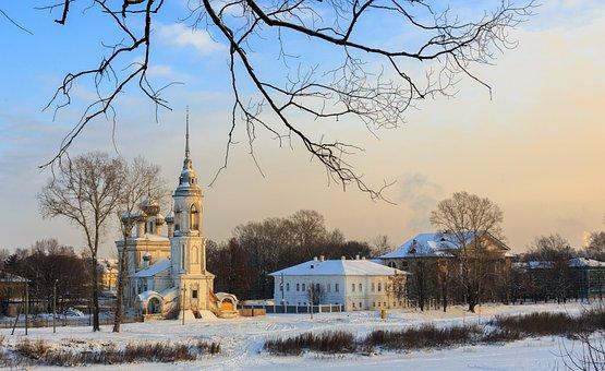 Winter, Church, Snow, Landscape, Christmas