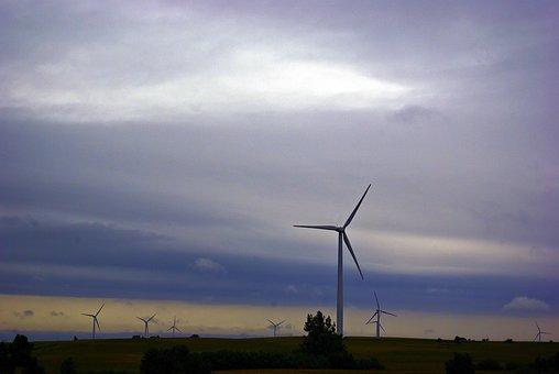 Wind Turbines Against Dark Clouds, Wind, Power, Clouds