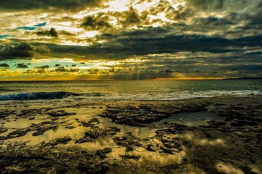 Sunset, Coast, Rocky, Landscape, Nature, Sky, Clouds