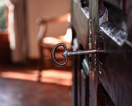 Skeleton Key, Antique, Old World, Wood, Hutch, Cupboard