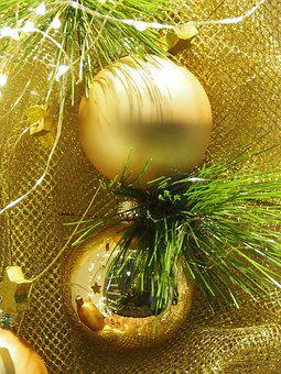 Balls, Gold, Christmas Decorations, Decoration, Gloss