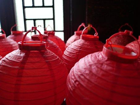 Lantern, Red, China, Traditions, Decoration, Lampion