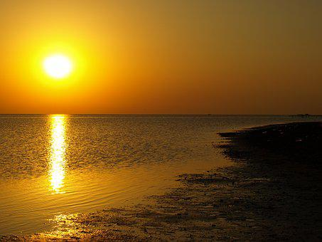 Sunrise, Sunset, Sea, Landscape, Dusk, Scenic, Sunlight