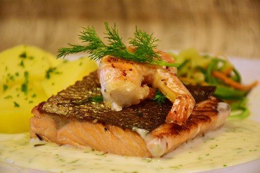 Salmon, Fish, Scampi, Fried, Cook, Fresh, Shrimp