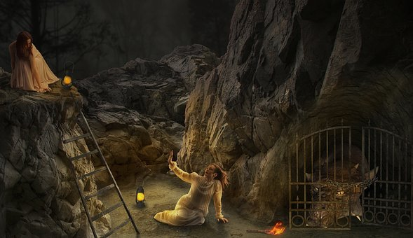 Woman, Girl, Dragon, Cave, Fear, Photomontage, Hope
