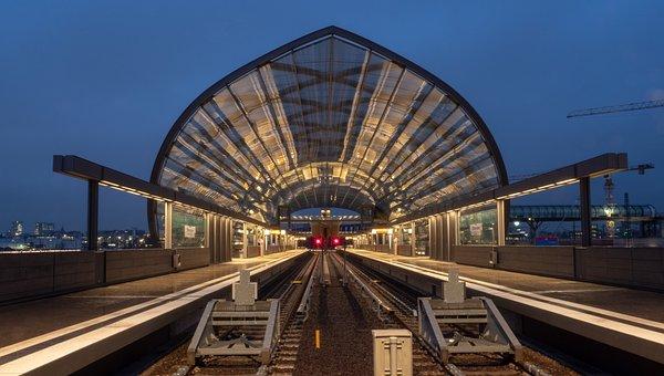 Hamburg, Train, Elbe Bridge, Metro, U4, Stop, Station