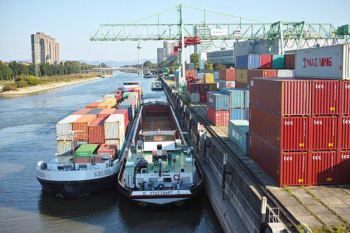 Mannheim, Port, Ships, Crane, Container, Cargo, Neckar