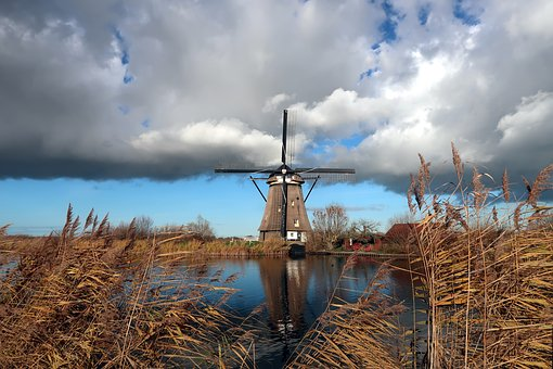 Mill, Wind Mill, Kinderdijk, Clouds, Netherlands